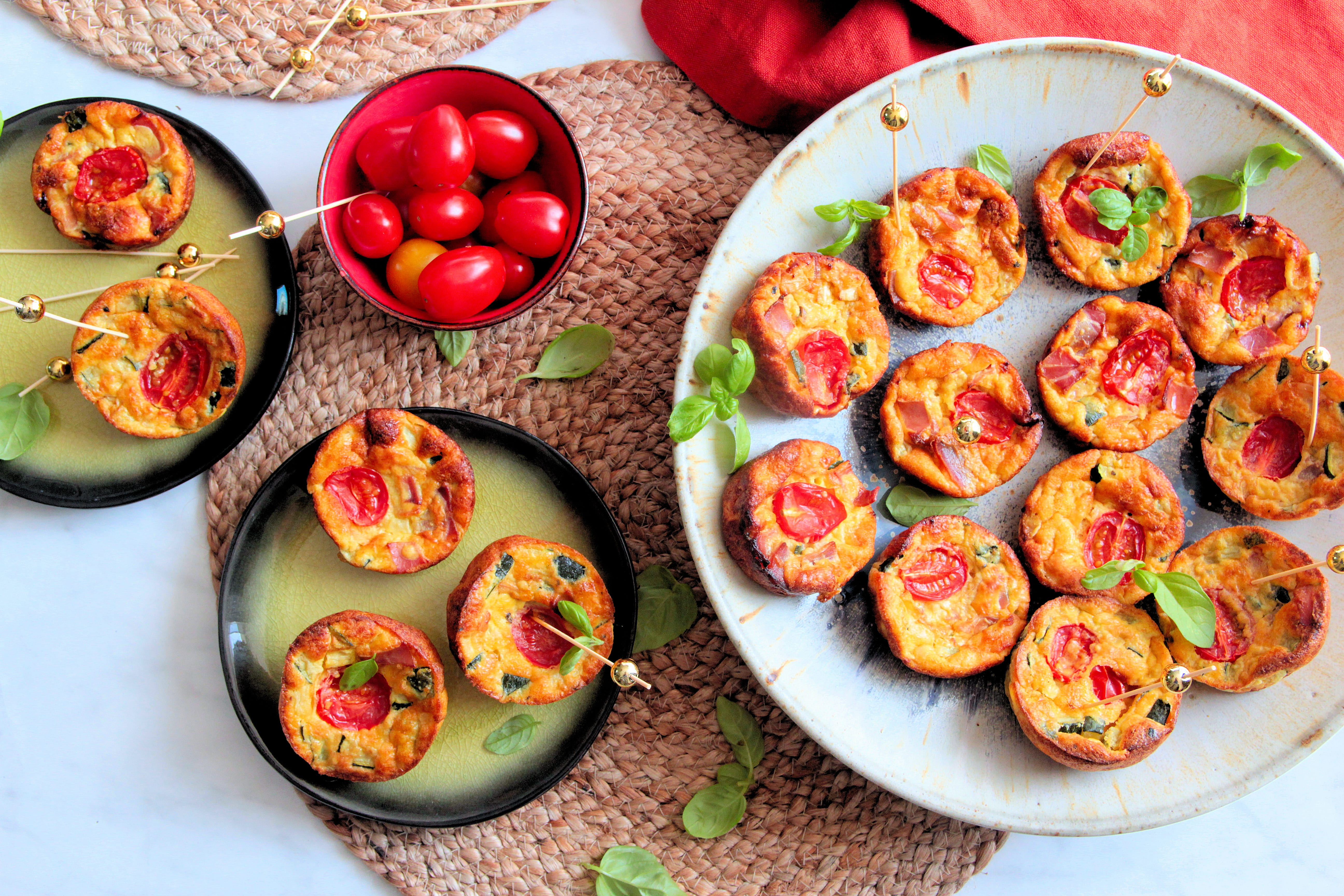 Mini clafoutis au jambon cru et légumes
