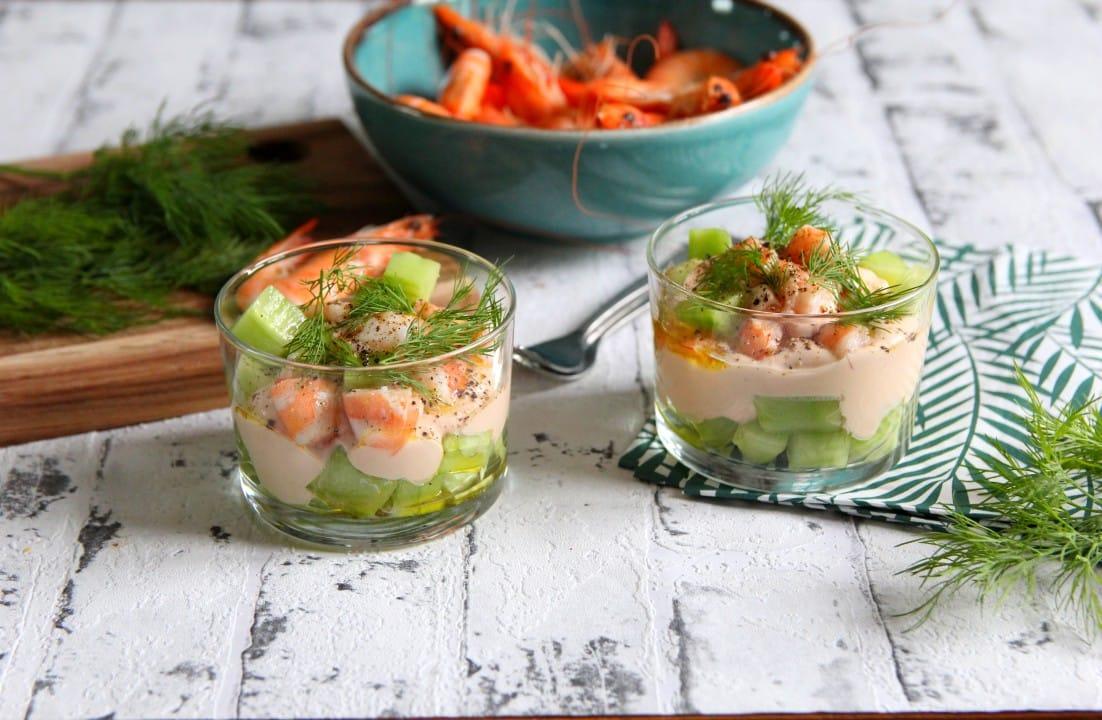 verrines de concombre aux crevettes
