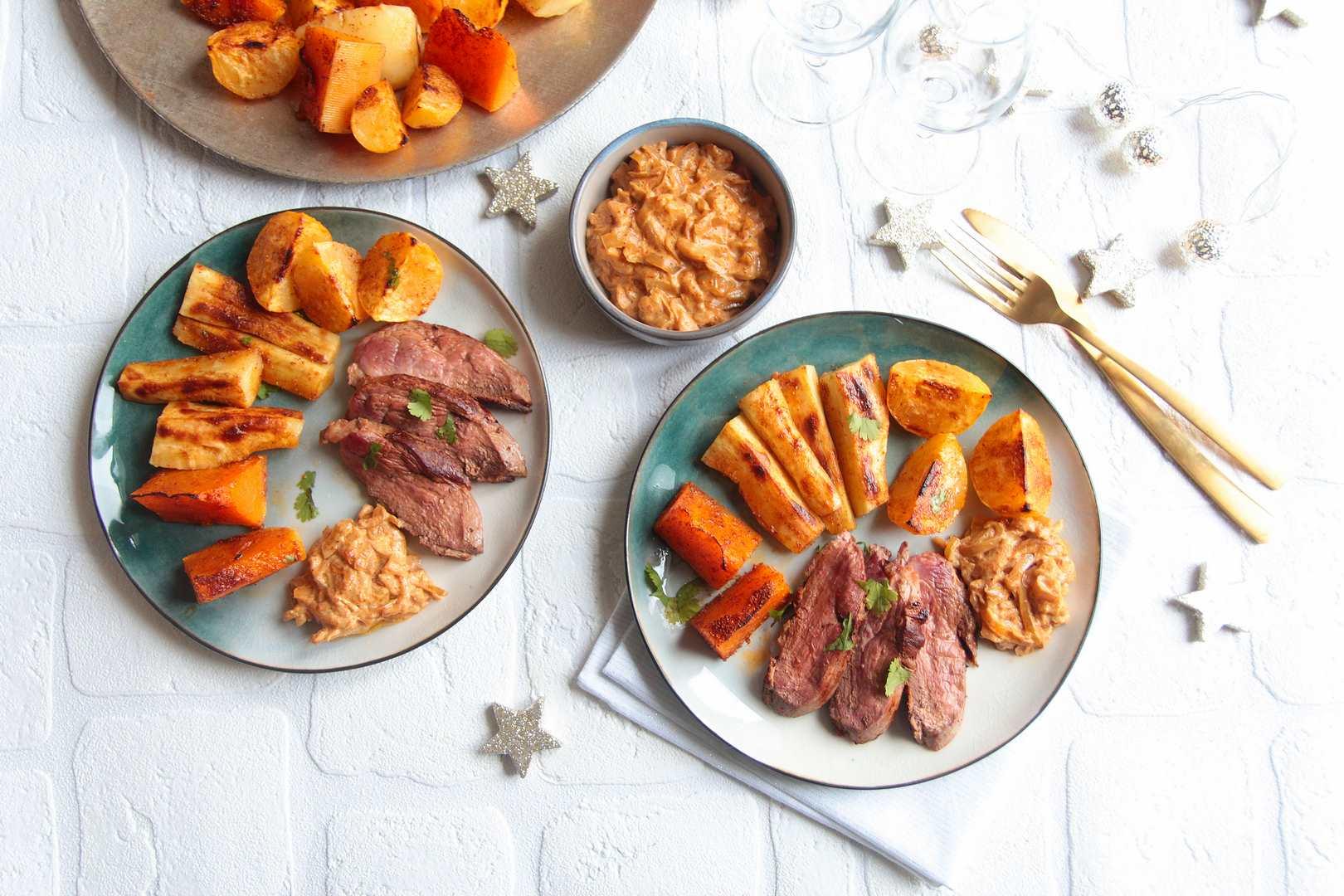 Magret de canard façon tajine, chutney de pommes et légumes de Noël rôtis
